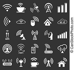 wifi, vingt, ensemble, cinq, icônes