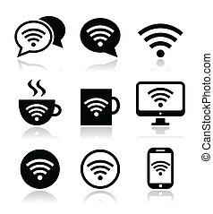 wifi, wifi, café, icônes internet