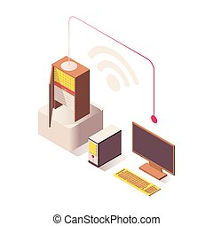 Wifi wireless connection vector isometric illustration. Computer connected to Internet server, online hosting, hardware equipment. Datacenter, IT, database storage isolated 3d