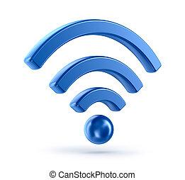 wifi, (wireless, network), 3차원, 아이콘