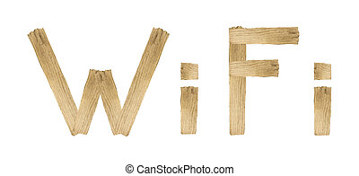 WIFI word made with wood isolated on white background