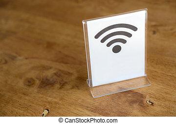 wifi, zeichen, tisch, frei