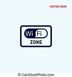 wifi, zon, rektangulär, signal, vektor, ikon