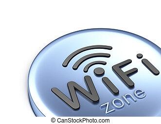 wifi, zone., 3d, concept