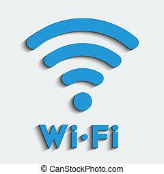 Wifi zone, blue vector emblem