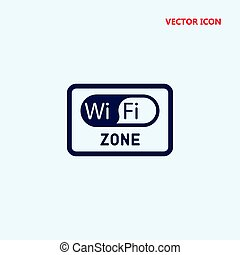 wifi zone rectangular signal vector icon