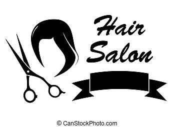 wig and scissors on barber icon