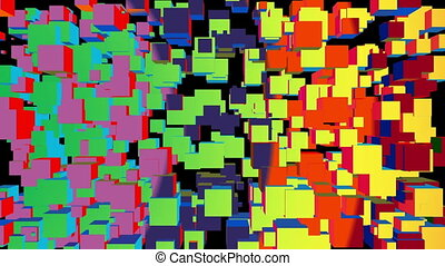 Wiggling Colorful Wall Of Cubes