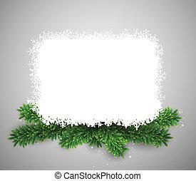 wigilia, na, papier karta, branches., boże narodzenie, biały