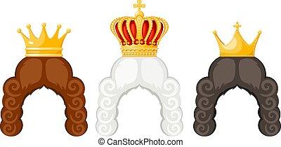 Wigs and royal crown with cartoon style on a white background. The hair of a princess, king, prince or grandee with a golden crown, the symbol of the monarch of power. Vector illustration
