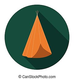 Wigwam icon flat. Singe western icon from the wild west flat.