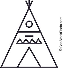 wigwam illustation vector line icon, sign, illustration on white background, editable strokes