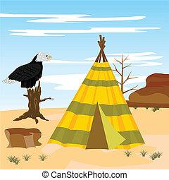 Wigwam in desert
