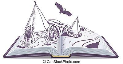 wigwam, indianer, rgeöffnete, book., sitzen