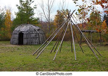 Wigwam bent house made from White Cedar bark in Michigan