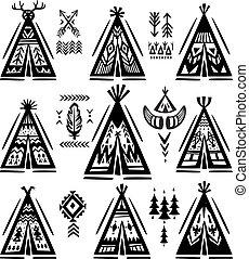 wigwams, ornamental, conjunto, elementos, tee-pee, o