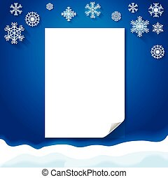 Wiinter background witn blank paper Christmas snowflakes. Vector.