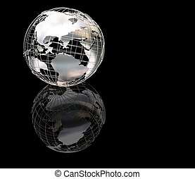 Wiireframe metallic globe - 3D render of a wireframe ...