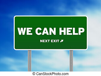 wij, helpen, -, meldingsbord, groene, groenteblik, straat