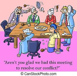 wij, lossen op, dit, hebben, blij, ik ben, vergadering, conflict