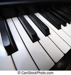 wijde hoek, toetsenbord, piano, overzicht., closeup.