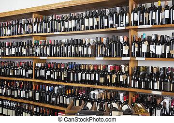 wijn bottelt, getoonde, in, restaurant