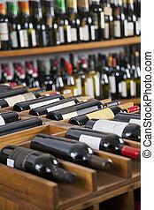 wijn bottelt, getoonde, in, supermarkt
