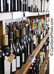 wijn bottelt, getoonde, in, winery
