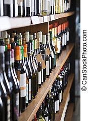 wijn bottelt, getoonde, op, planken