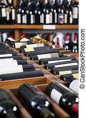 wijn bottelt, getoonde, op, rekken