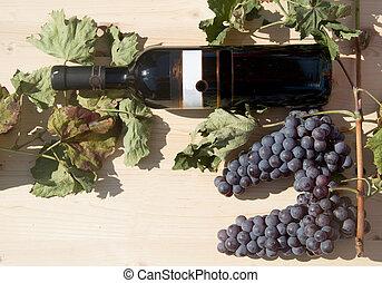 wijn fles, druiven, rood