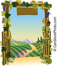 wijngaard, poort