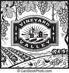 wijngaard, vallei, zwart wit