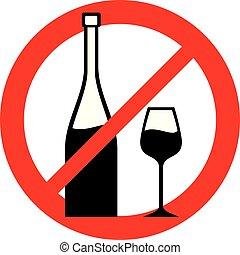 wijntje, verboden, (no, alcohol, verbod, icon)