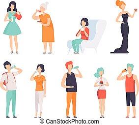 wijntje, witte koffie, drinkt, set, illustraties, achtergrond, vrouwen, thee, mannen, water, melk, dranken, vector, mensen
