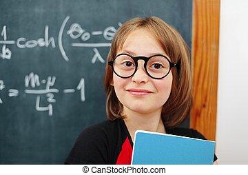 wijs, wiskunde, schoolgirl