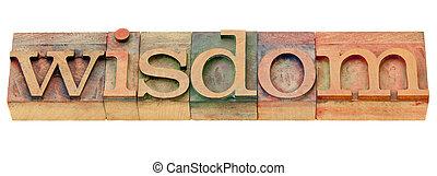 wijsheid, woord, in, letterpress, type