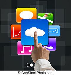 wijsvinger, richtend bij, wolk, gegevensverwerking, met, kleurrijke, app, iconen
