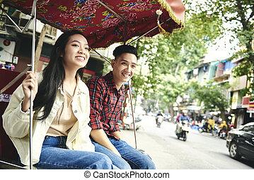 wijze, paar, vervoeren, vietnamees, het reizen