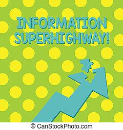 wijzende, foto, raadsel, superhighway., meldingsbord, verbinden, informatie net, jigsaw, tekst, conceptueel, type, kleurrijke, het tonen, internet, piece., deel, zoals, computers, individuen, richtingwijzer, afstandelijk, omhoog