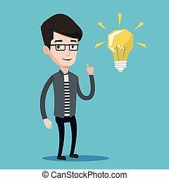 wijzende, licht, illustratie, vector, student, bol