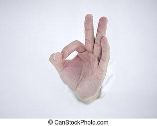 wijzende, muur, verbreking, hand, papier, door, u, man's