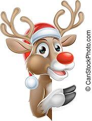 wijzende, rendier, meldingsbord, achter, kerstmuts