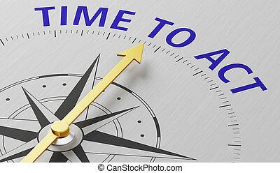 wijzende, tekst, naald, werken, tijd, kompas