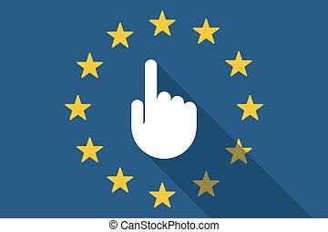 wijzende, unie, lang, hand, vlag, schaduw, europeaan