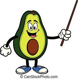 wijzer, avocado, stok, mascotte