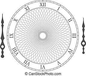 wijzerplaat, ouderwetse , horloge, illustratie, vector, arrows.