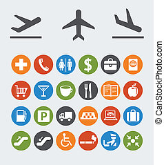wijzers, navigatie, luchthaven, iconen