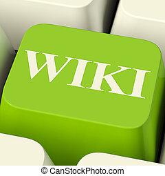 wiki, información, computadora, enciclopedia, llave, en línea, o