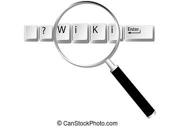 wiki, informacja, klawiatura, szkło powiększające, znaleźć